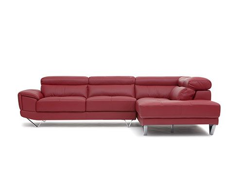 Red Sansa Leather Sectional Sofa Furniture Shopping
