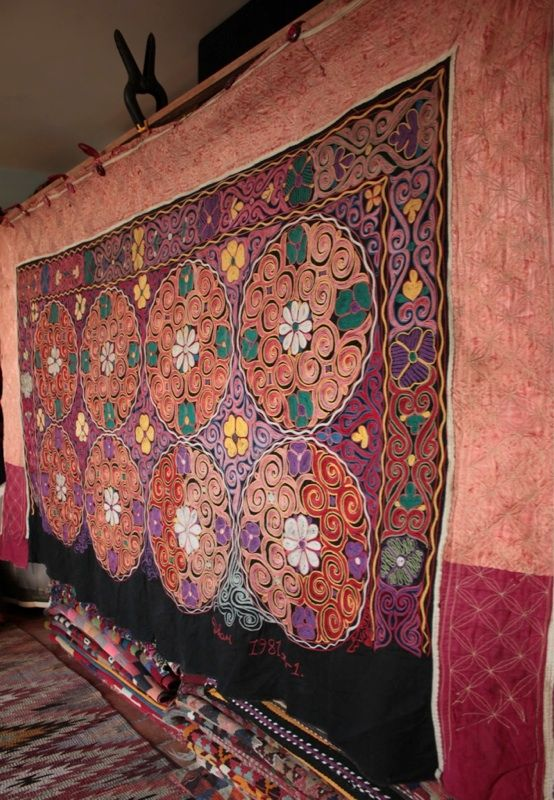 Beautiful Large Mongolian Kazakh UZBEK Suzani Embroidery Yurt Wall Hanging No 12 | eBay
