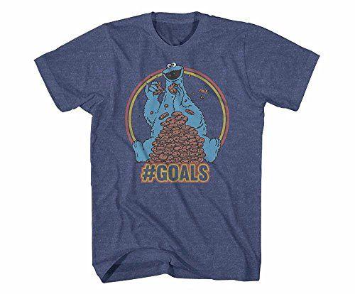 "Retro Sesame Street Cookie Monster ""Goals"" Denim Blue Heather Mens T-Shirt"