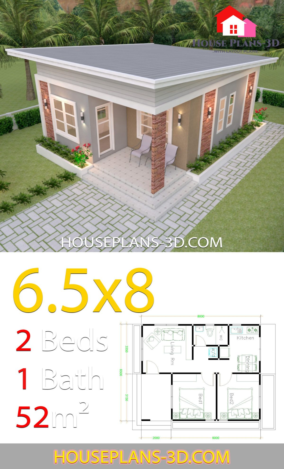 House Design Plans 6 5x8 With 2 Bedrooms Shed Roof House Plans 3d Simple House Design Cottage Style House Plans Beautiful House Plans