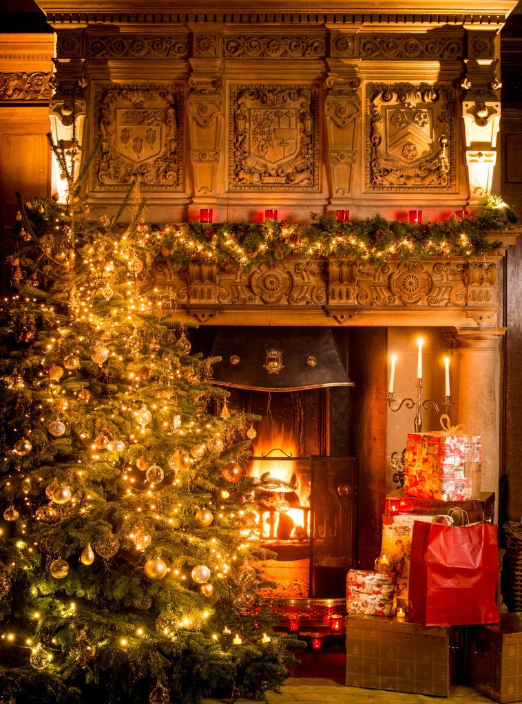 Sadie Lynes From Marldon Christmas Tree Farm Near Totnes And A Christmas Fireplace At Bovey Castle Photographed By Matt Austin Interior Decorating Living Room Living Room Ornaments Christmas Fireplace
