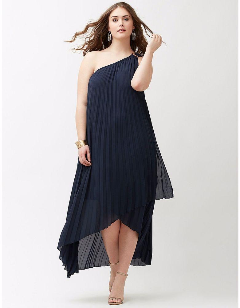 Lane Bryant Women s Dress Plus Size 26 Navy e Shoulder Pleated