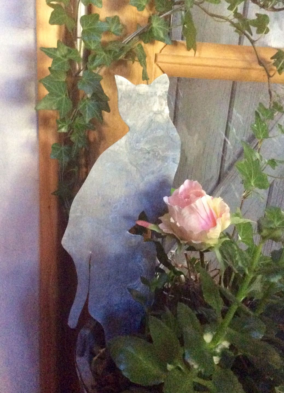 Décoration de jardin étiquette zinc silhouette chat à ...