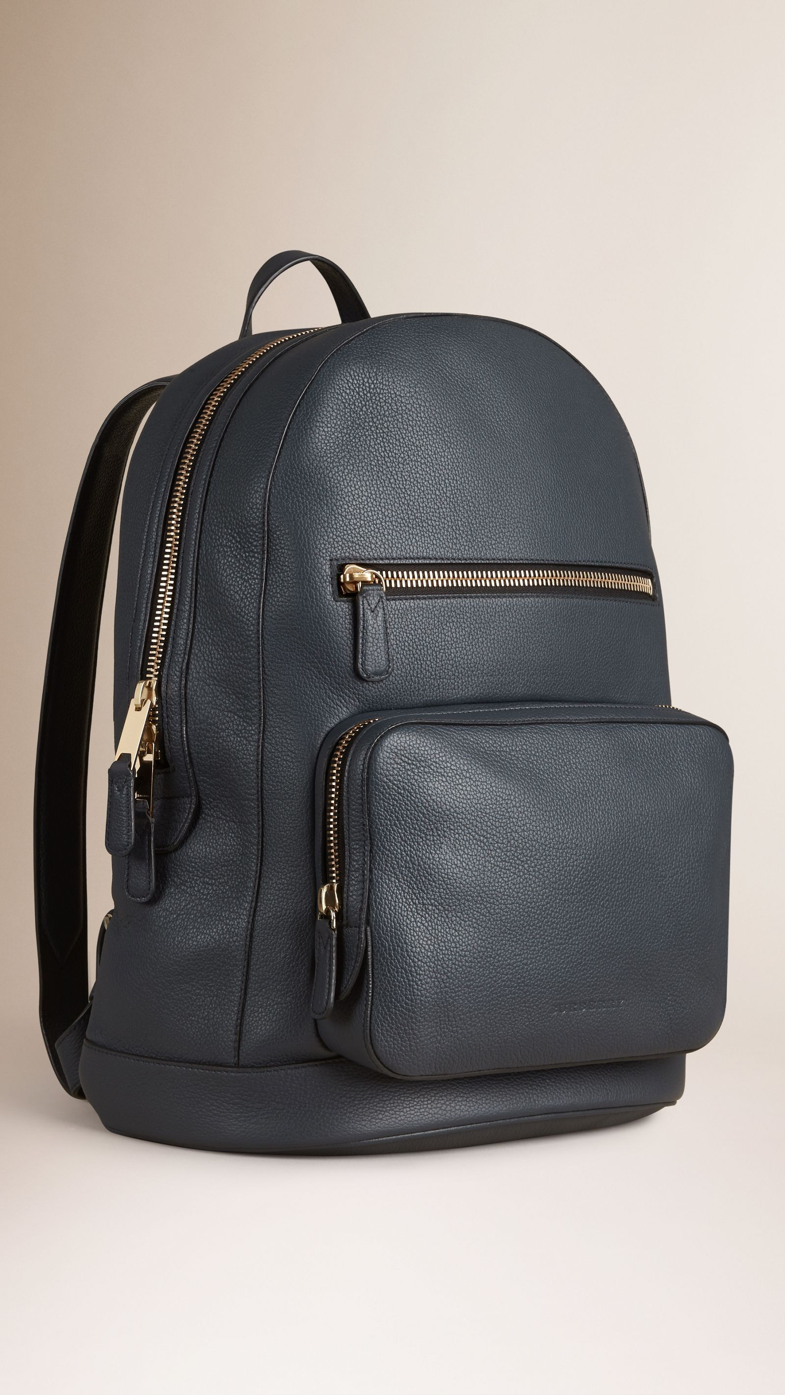 8d23f8eb7c0c Structured Grainy Leather Backpack Dark Pewter Blue