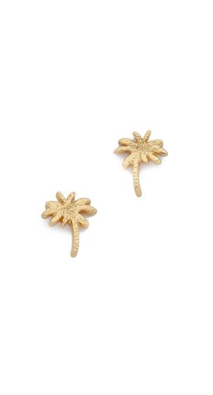 Gold Palm Tree Stud Earrings
