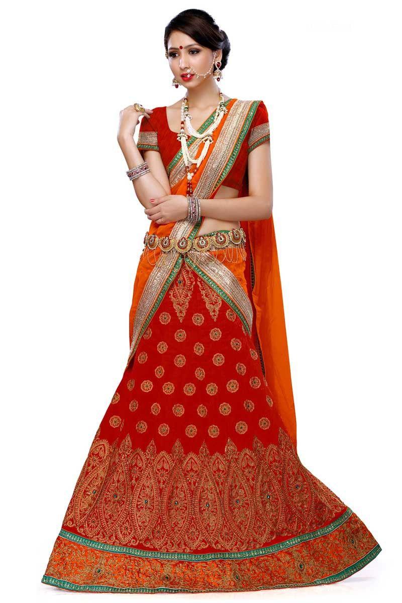Venetian red silk embroidered wedding lehenga choli online at