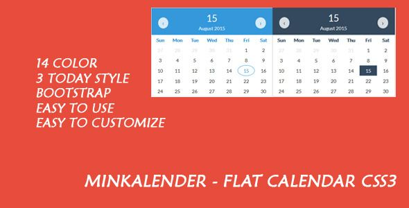 Minkalender Flat Calendar Css3 Calendar Color Themes Templates