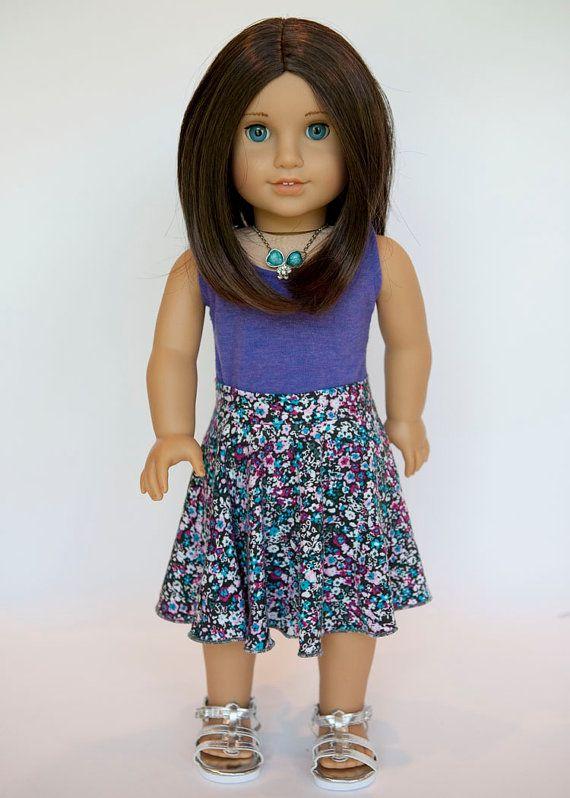 American Girl Doll floral midi circle skirt on Etsy, $10.00