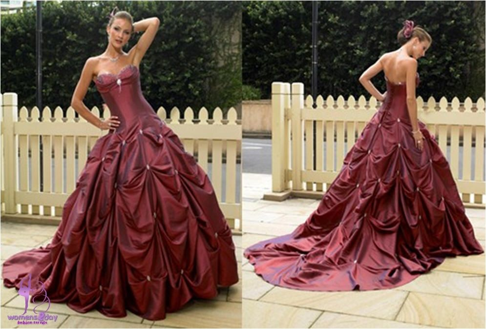 Red strapless wedding dresses 2013 colored wedding dresses