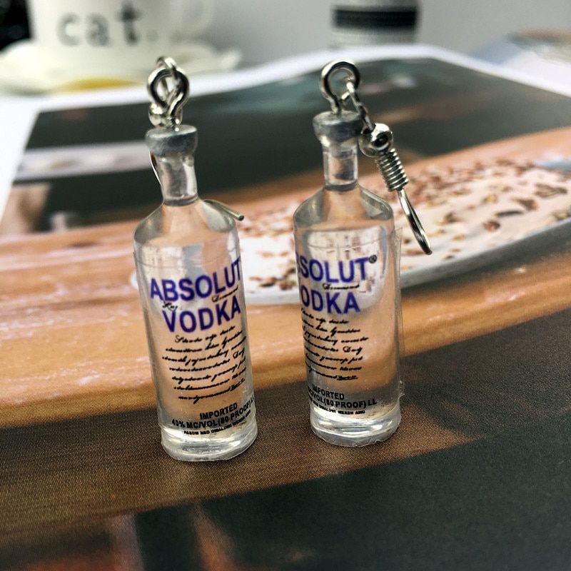 Funny drinking jewelry acrylic creative vodka bottle drop earrings transparent bottle dangle earrings holiday gift