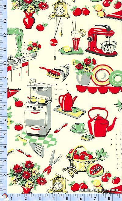 Retro 50 S Kitchen Liances On Cream Food Beverages Elkabee Fabric Paradise Llc