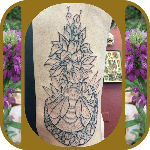 Lovely Line Work Floral Bumblebee Armleg Calf Tattoo