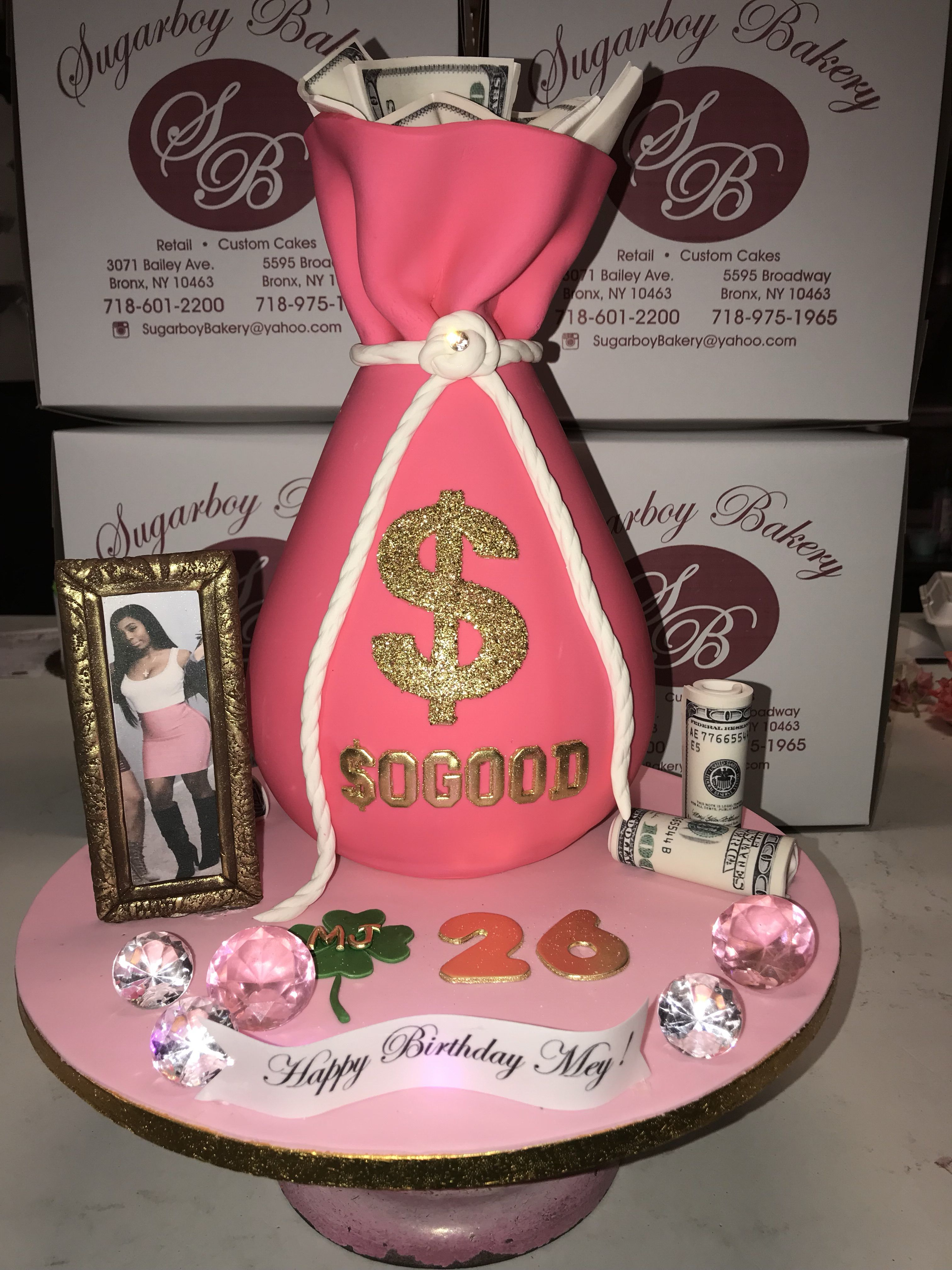 Astonishing Money Bag Themed Cake 25Th Birthday Cakes Birthday Drip Cake Personalised Birthday Cards Veneteletsinfo