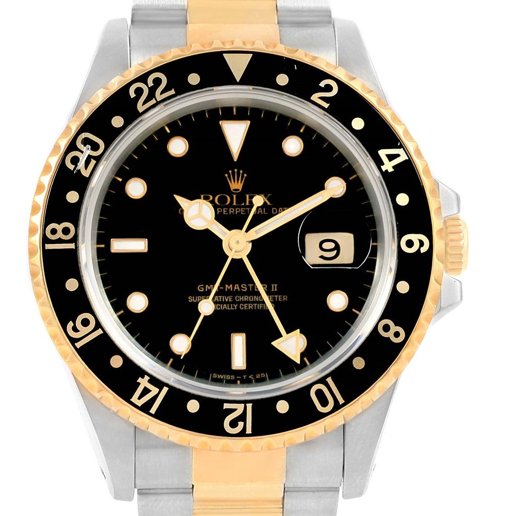 rolex gmt master ii yellow gold steel oyster bracelet watch