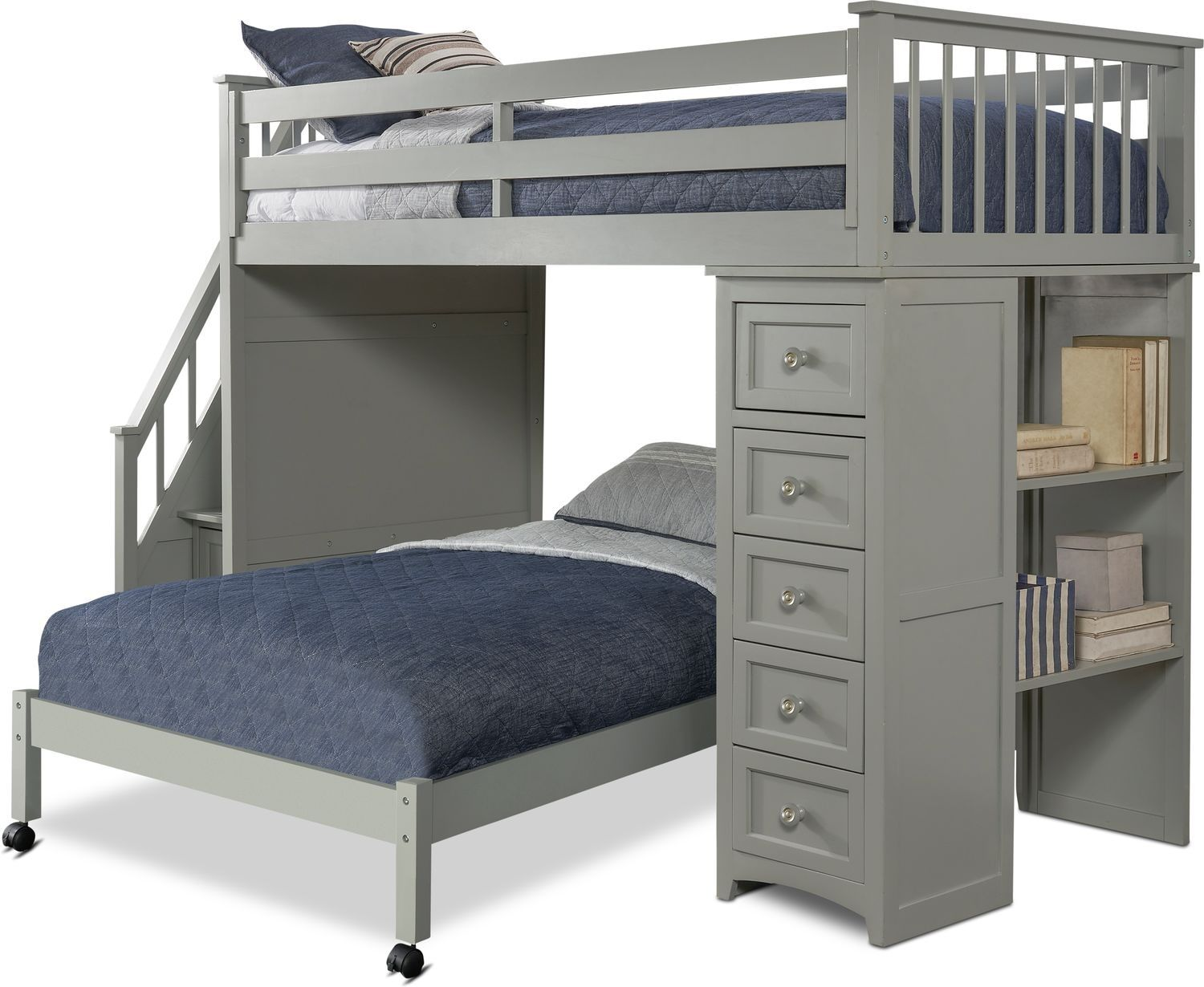 Flynn Twin Over Full Loft Bed With Storage Stairs And Chest Gray