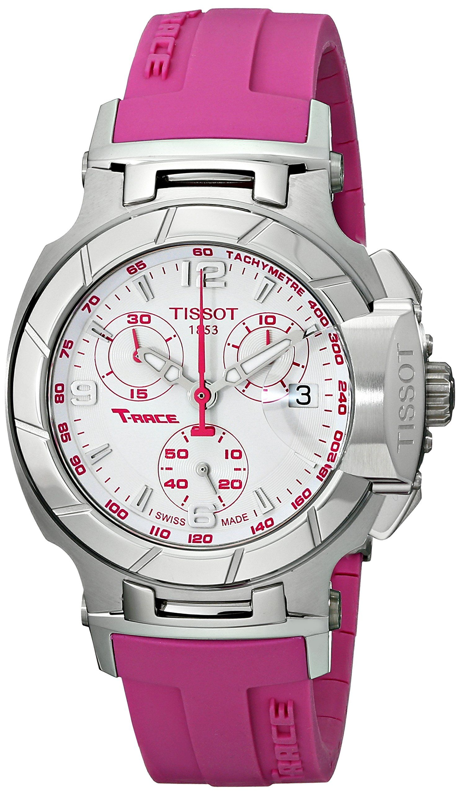 629fbf940a34 Tissot Women s T0482171701701 T-Race White Dial Pink Silicone Strap Watch.  Quartz movement. Saphire crystal. Case diameter  36 mm. Stainless steel  case.