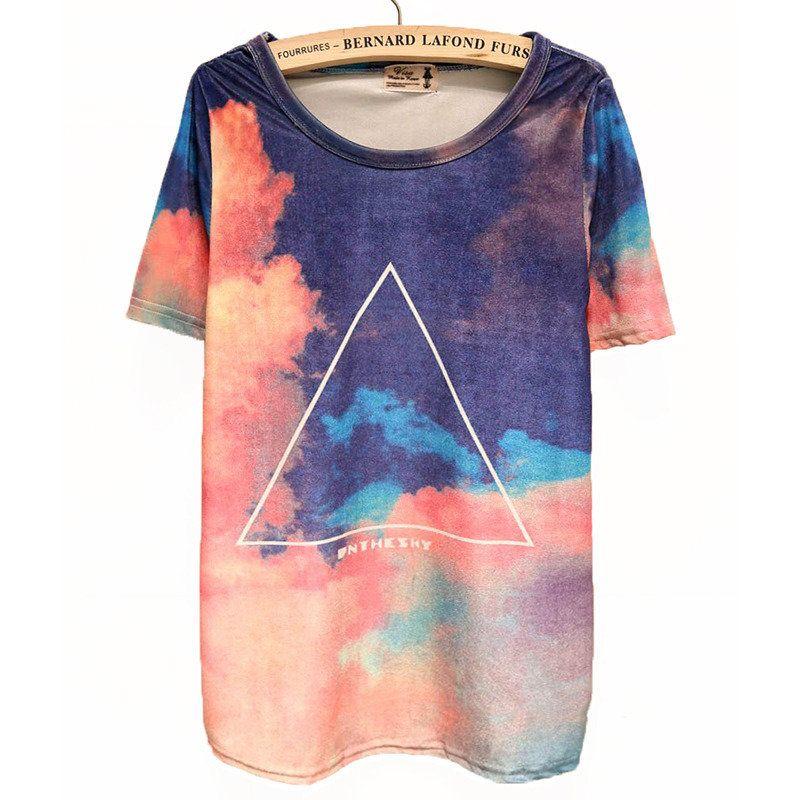 Gradient Sky Geometric Print Slim Tshirts