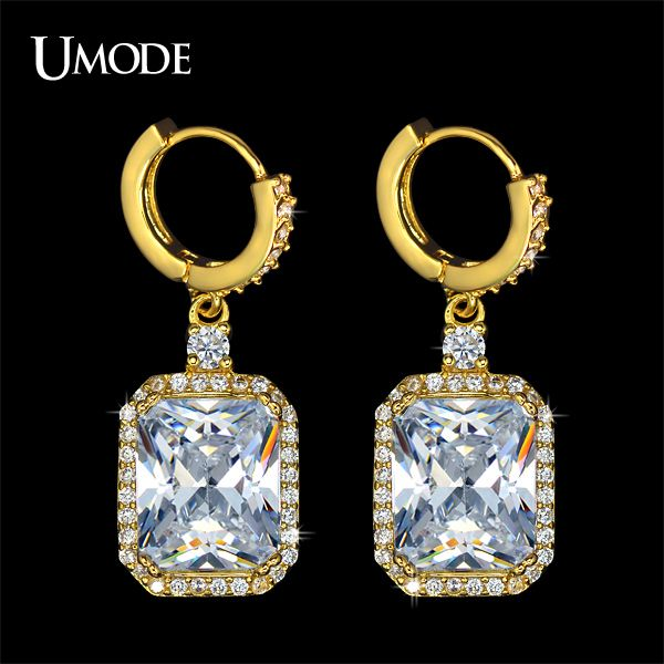 UMODE Yellow Gold 5ct Emerald Cut Cubic Zirconia Diamond Dangel Earrings For…