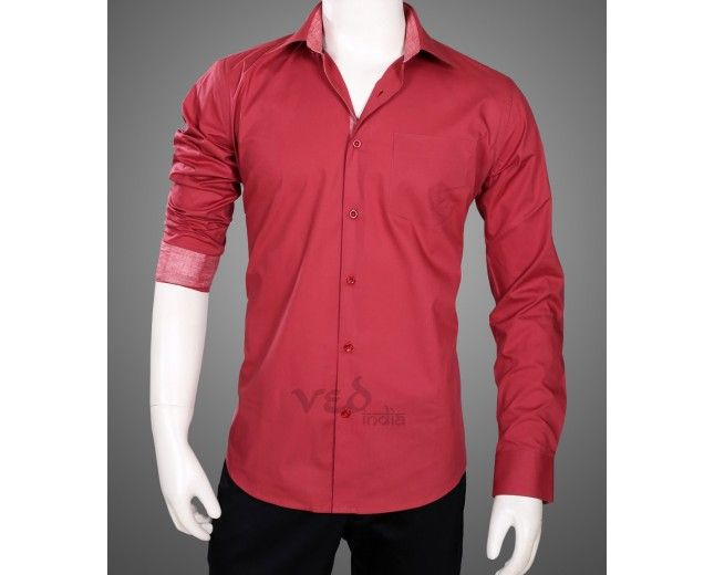75848d5f3 Eelegant and stylish cotton full sleeves shirt for men in vibrant maroon  color with white on collars and cuffs.