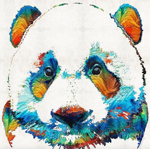 Colorful Panda Bear Animal Art Print From Painting Primary Colors