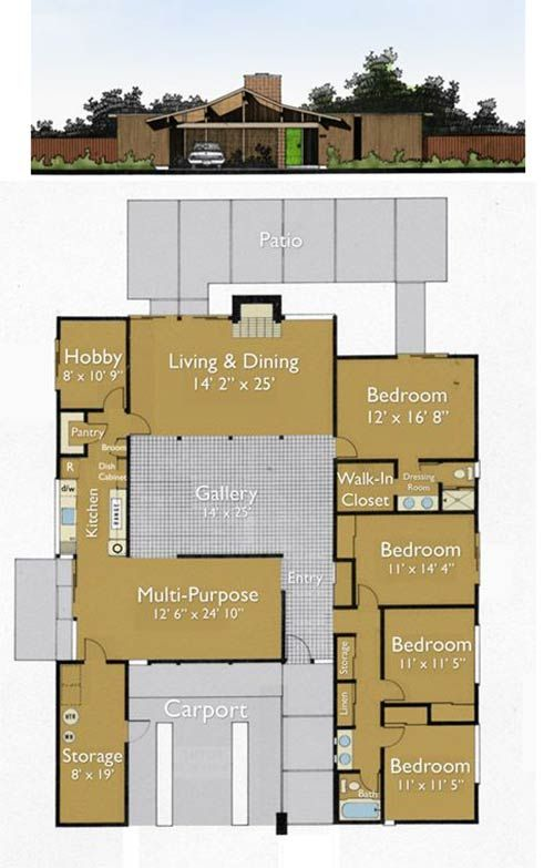 Build an Eichler ranch house - 8 original design house plans ...