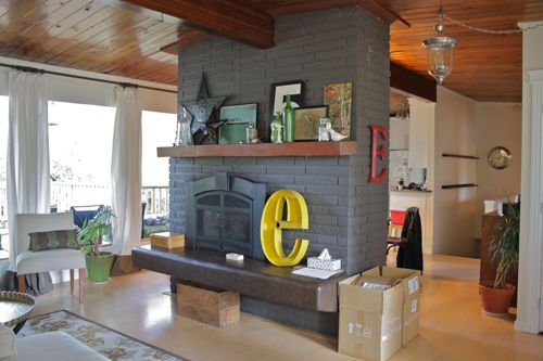 Brick Fireplace Painted Gray Love The Yellow Pop Of Color Home Decor Inspiration Family Room Design Hearth Room Decor