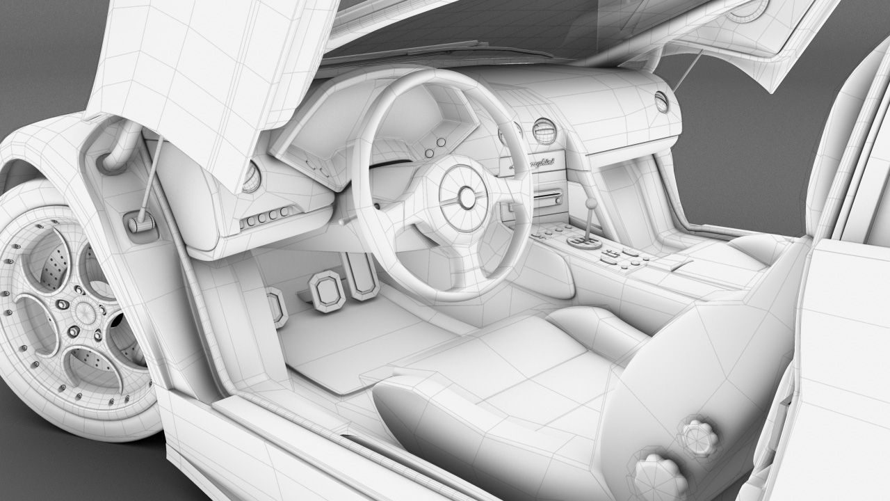 Beau Lamborghini Murcielago: High Poly Modeling In Maya. Ambient Occlusion And  Wire Frame