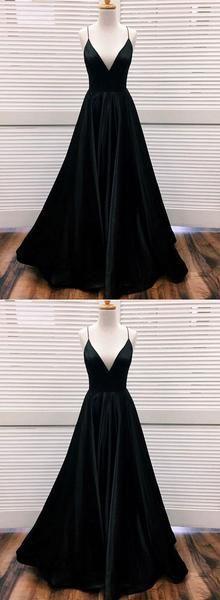 Black v neck satin long prom dress, black evening dress