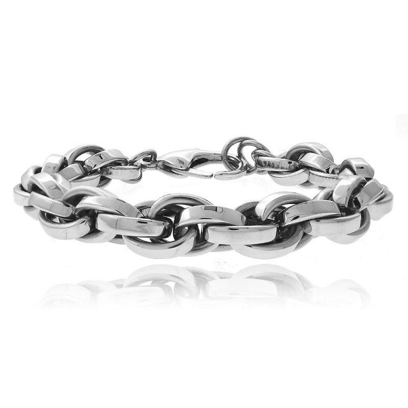 Stainless Steel Interlocking Links Men's Bracelet