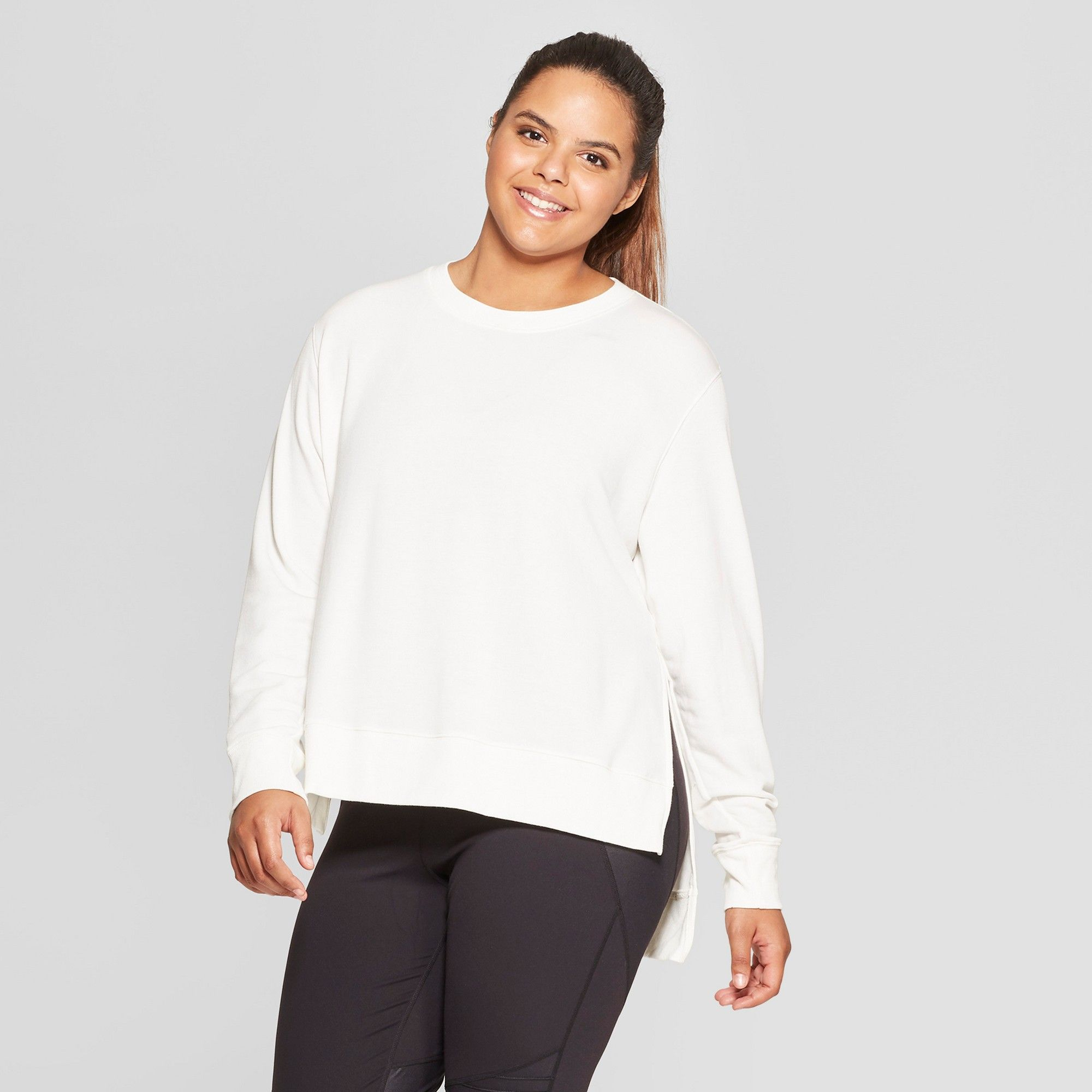 Women's Plus Size Crewneck Sweatshirt JoyLab Ivory 2X