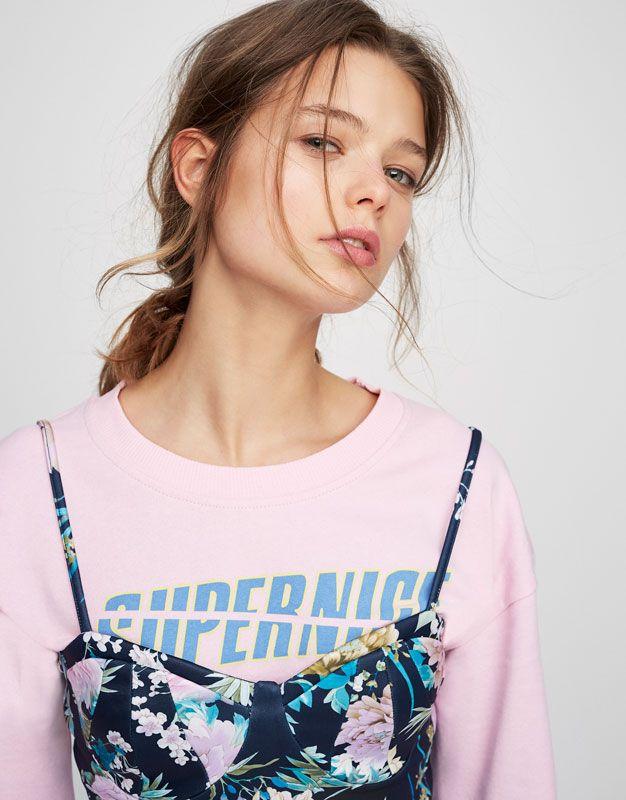 9313fe96b33d Pull Bear - femme - vêtements - t-shirts - crop top bretelles imprimé  tropical - bleu marine - 05236380-V2017