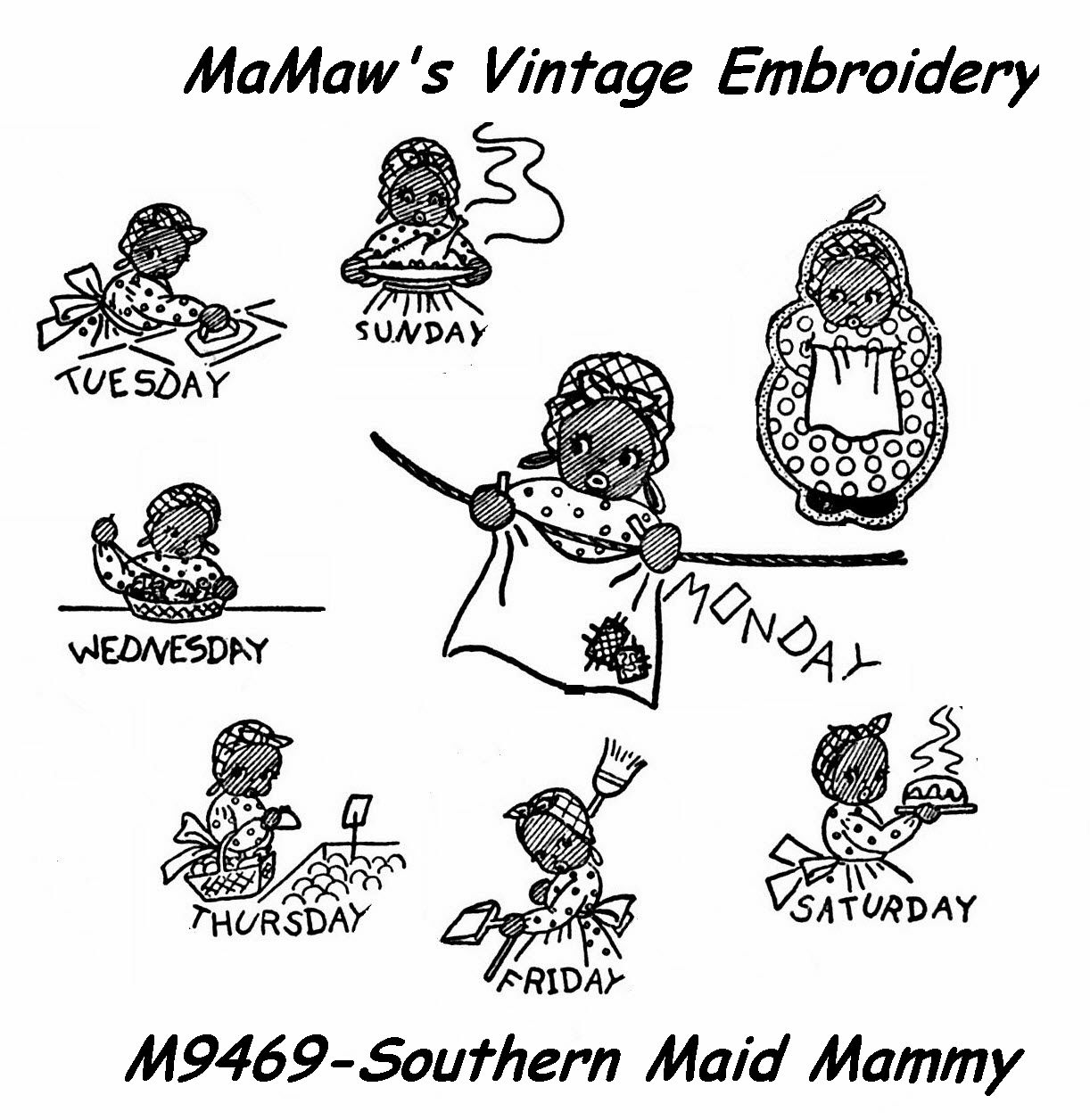 Southern Mammy Maid Dow Embroidery Transfer Pattern Vintage