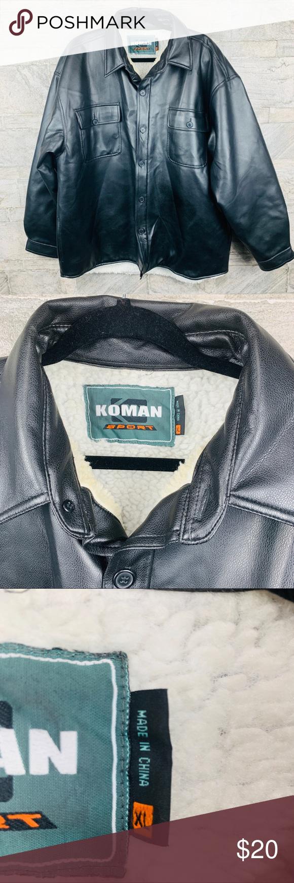 Koman Sport Faux Leather Look Black Jacket Size Xl Black Jacket Jackets Clothes Design [ 1740 x 580 Pixel ]