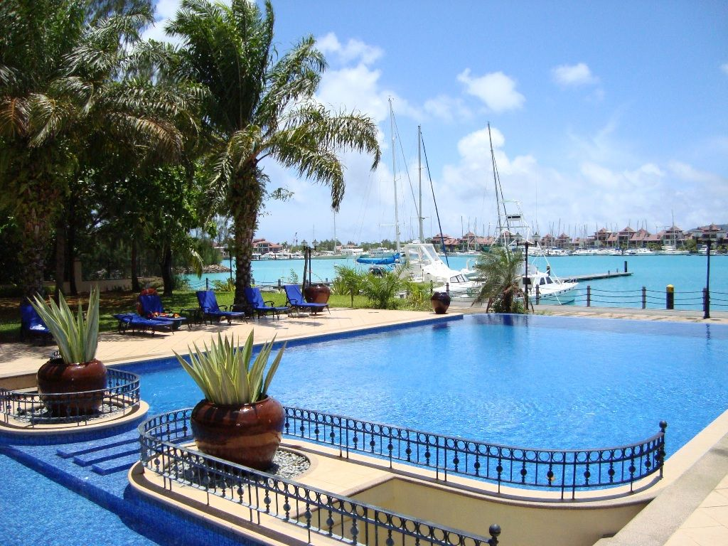 The pool area at the Wharf Hotel and Marina, the home of Seychelles Yacht Charter.
