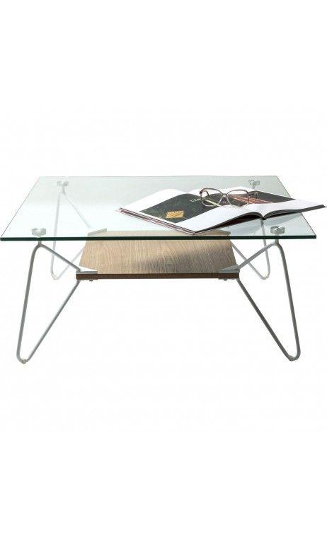 Table Basse Carree 80 Cm Verre Et Bois Slope Triangle Kare Design