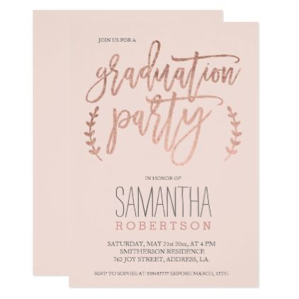 Rose gold typography blush pink graduation party card graduation rose gold typography blush pink graduation party card graduation invitations party grad cards graduation invitations pinterest filmwisefo