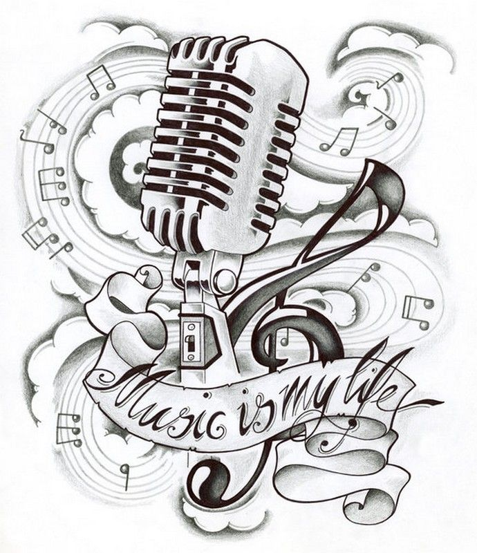 Music Is My Life Microphone Music Coloring Sheet Tatuagens De