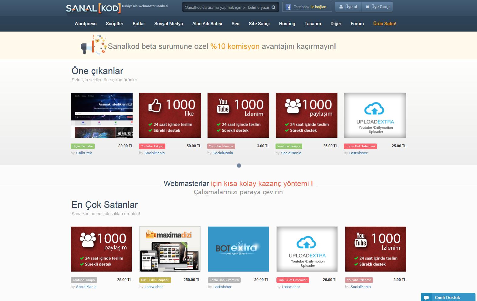 Webmasterlar Sanalkod'a ürünlerini eklemeye başladı