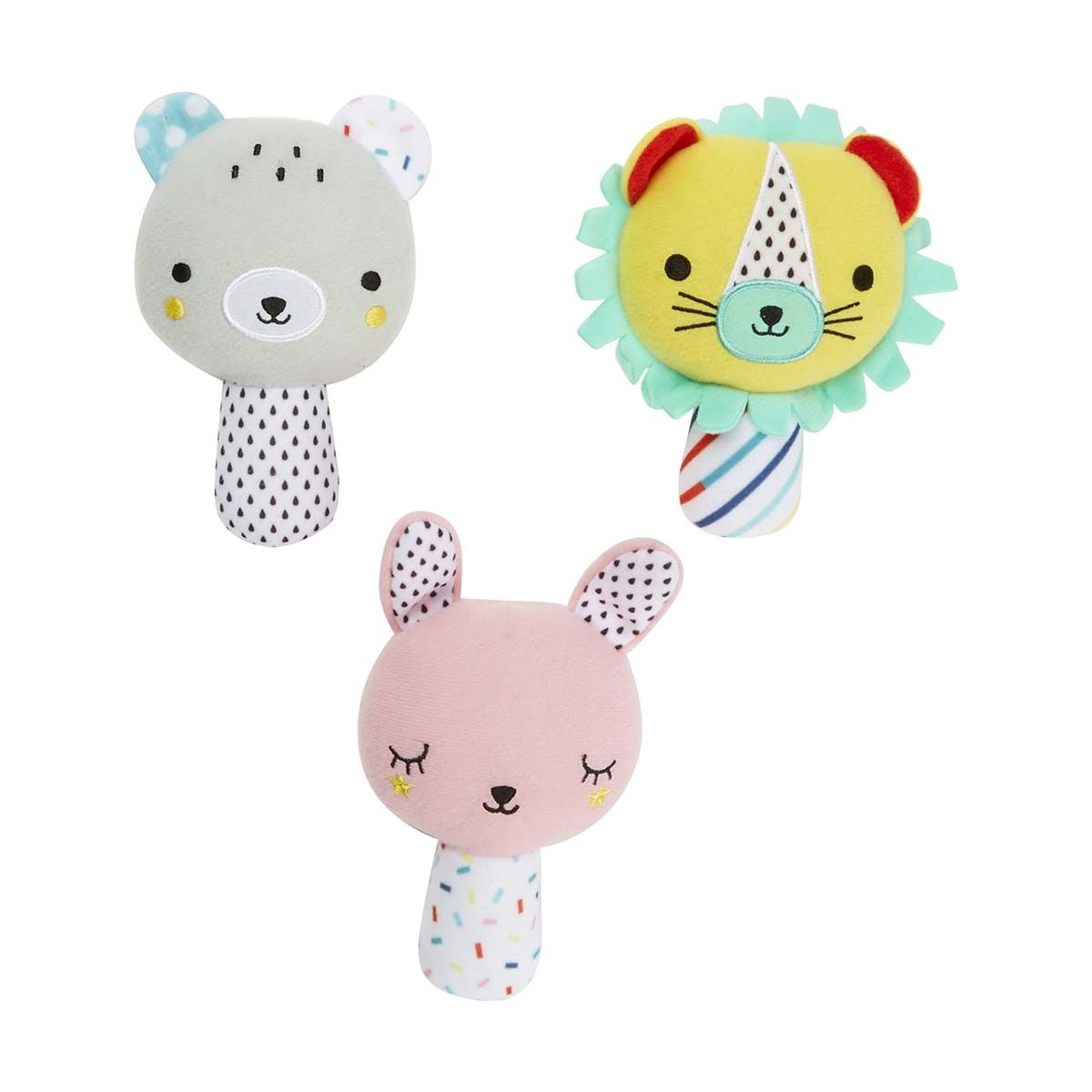 Animal friends plush rattle assorted kmart with