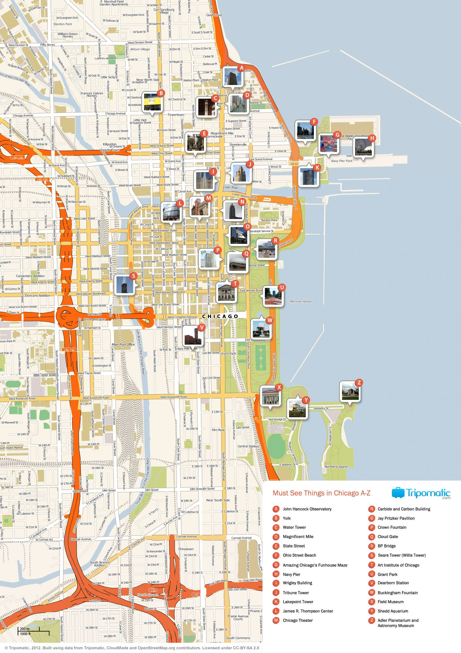 Map Of Chicago Attractions Tripomaticcom Places To Visit - Chicago map attractions