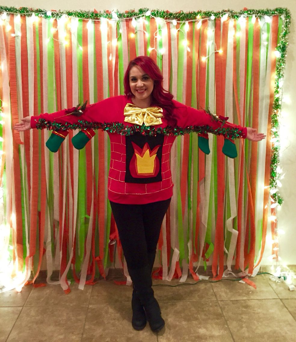 Ugly Christmas Sweater! #diy #fireplace #mantle