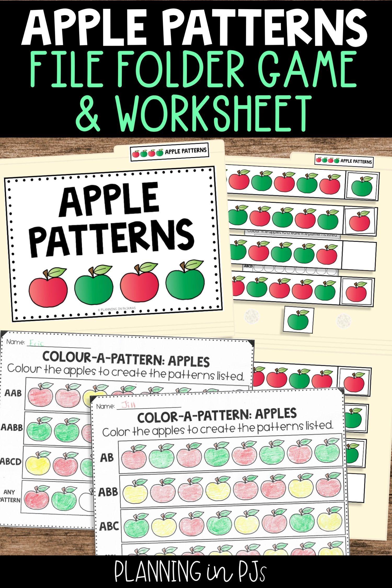 Apple Patterns Worksheets File Folder Game
