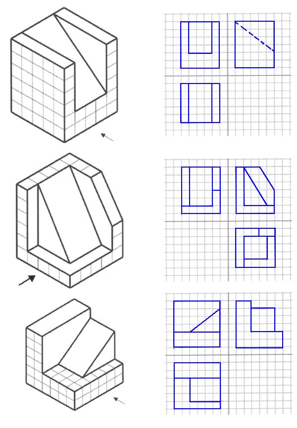 Proiezioni Vistas Dibujo Tecnico Ejercicios De Dibujo Tecnicas De Dibujo