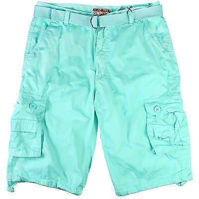 H & W Wash Cargo Shorts HWP113-MIN Mint Green Belted Shorts Mens ...