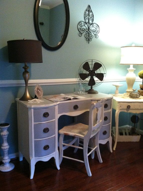 Sold/Reduced Shabby Chic Cottage Desk/Vanity by SaundersDesign on Etsy