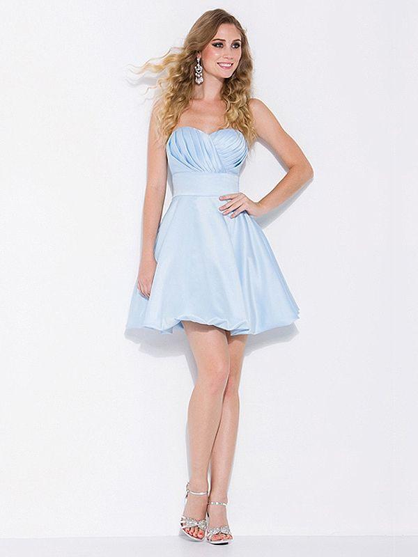 0d6aa35d2eba Empire Sweetheart Satin Short/Mini Light Sky Blue Homecoming Dresses With  Pleating at Dresseshop