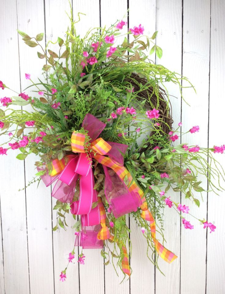 Pink Wild flower Wreath,Door wreath,  Double Door Wreath,Moms Day Wreath,East... - #Day #Door #double #Flower #Pink #Wild #Wreath #WreathDoor #WreathEast #WreathMothers #doubledoorwreaths