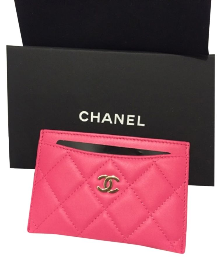 Chanel pink new quilted lambskin card holder wallet