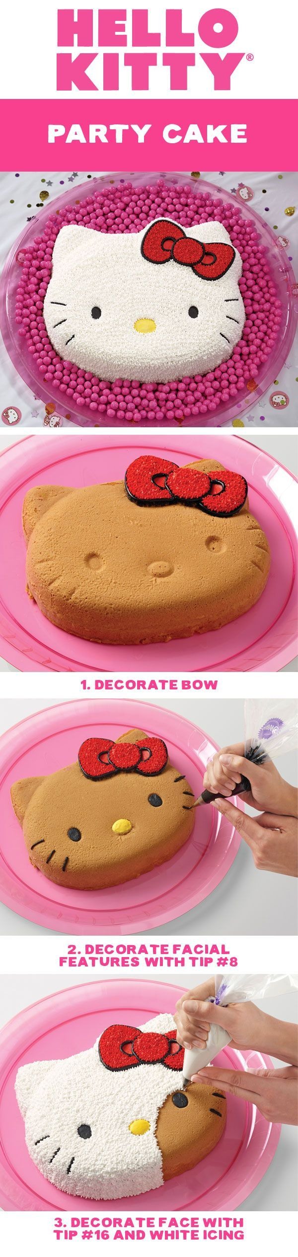 Amaze everyone at the party with your decorated Hello Kitty cake