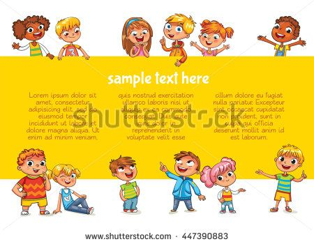 Happy children holding blank poster Template for advertising - blank brochure